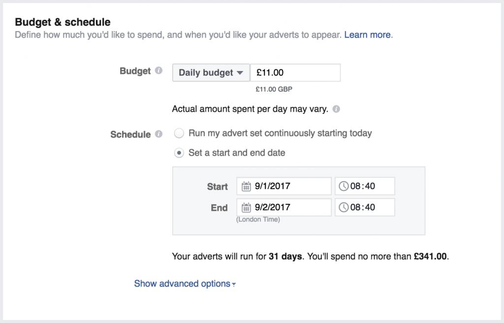 buget setare facebook ads ghid