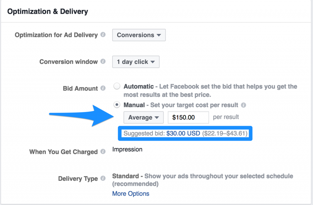 tip de licitare in facebook ads